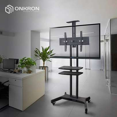 """ONKRON Mobile TV Stand TV Cart with Wheels & 2 AV Shelves for 32"""" – 65 TS1552 image 7"""
