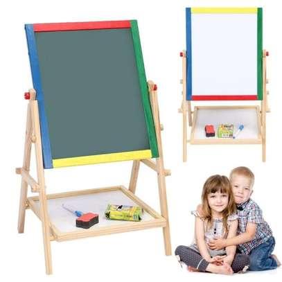 2 in 1 Wooden Kids Easel Blackboard Whiteboard Drawing Writing Chalk Board image 1