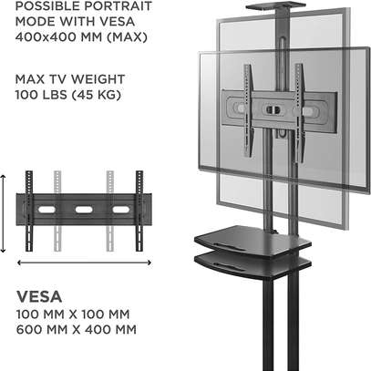 """ONKRON Mobile TV Stand TV Cart with Wheels & 2 AV Shelves for 32"""" – 65 inch LCD LED OLED Flat Panel Plasma Screens up to 100 lbs Black TS1552 image 6"""