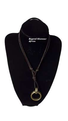 Leather Neck piece with Ring Pendant image 1