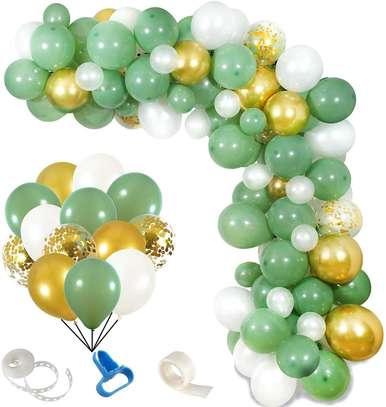 OKAKA 150pcs Olive Green Balloon Garland Arch Kit, Gold Confetti Balloons Sage Green Balloon and Gold Metallic Chrome Latex Balloons Set Wedding Birthday Balloons Baby Shower Decorations (Sage Green) image 1