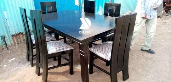 Black rectangular 6 seater dining table sets image 9