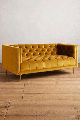 Yellow tufted three seater sofas for sale in Nairobi Kenya image 1