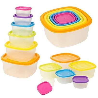 7pc Clear Plastic Food Storage Box Container Set Multi Colour Lids image 4