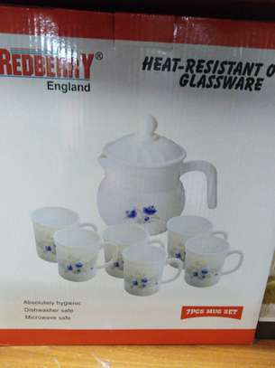 Tea set, 6 cups and kettle image 1