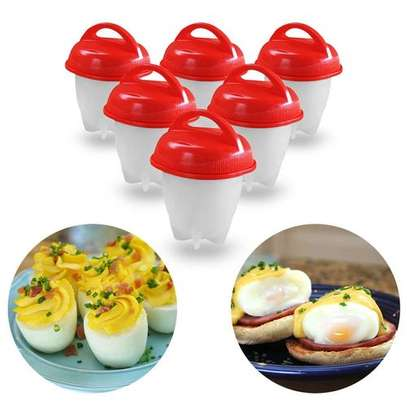6Pics Silicon Egg Boiler High-temperature Resistant Egg Cooker Kitchen Utensils Specification - Red