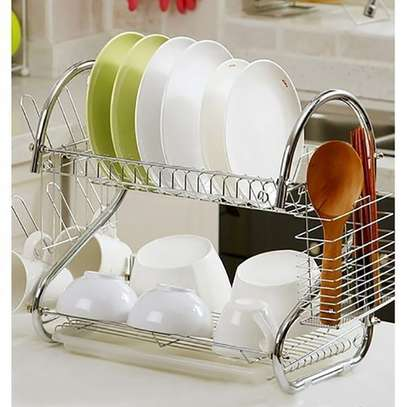 dish rack 2 tier  stainless steel with drain boards image 1