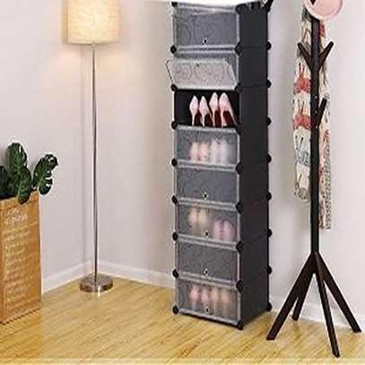8 Tiers Non-woven Plastic Fabric Standing Shoe Rack DIY Shoes Storage Shelf Home Organizer image 1