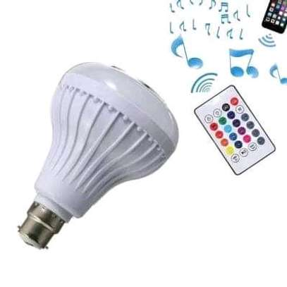 Bluetooth Speaker Music Light Bulb B22 LED White with powerful speaker + RGB Light Ball Bulb Colorful Lamp with Remote Control image 1