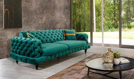 Green three seater chesterfield sofa set/Best Furniture shops in Nairobi Kenya/Modern sofas and couches manufacturers in Nairobi Kenya/Best quality sofa design in 2021 image 1