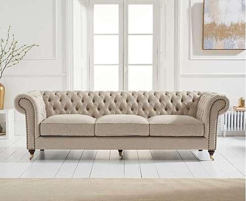 1823 Cream Linen 3 Seater Sofa image 1
