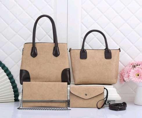 Cream 4 in 1 ladies quality handbags image 1