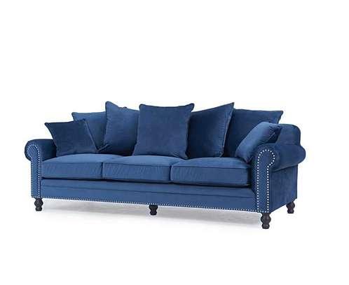 1823 Blue Velvet 3 Seater Sofa image 3