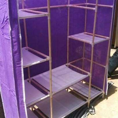 Three column portable wardrobe