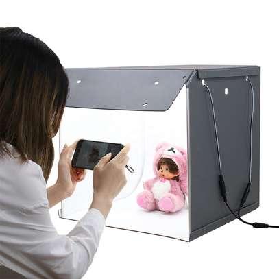 Photo Studio Box, PULUZ Mini Folding Lightbox 9.8x9.8 inch LED Ring Light Portable Photo Studio Photography Shooting Tent Box Kit 12 Colors Backdrops USB Light Box for Phones DSLR Camera image 1