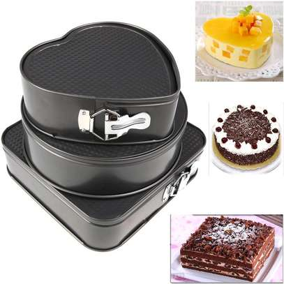 Generic 3pcs Non Stick Cake Tray Pan Bakeware Springform Tray Pan Tins Chocolate Baking Cake Mould Round Heart Square Set Kitchen Gadgets Cooking Tool image 5