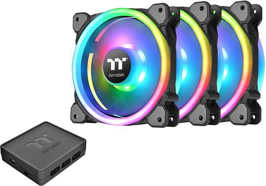 Thermaltake Riing Trio 12 RGB TT Premium Edition 120mm Software Enabled 30 Addressable LED 9 Blades Case/Radiator Fan - 3 Pack image 1