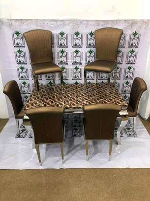 Marble dining set 1+6 seater image 3