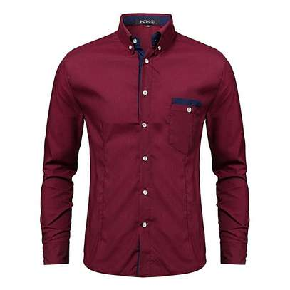 Formal Social Male Dress Shirts (Red) image 1