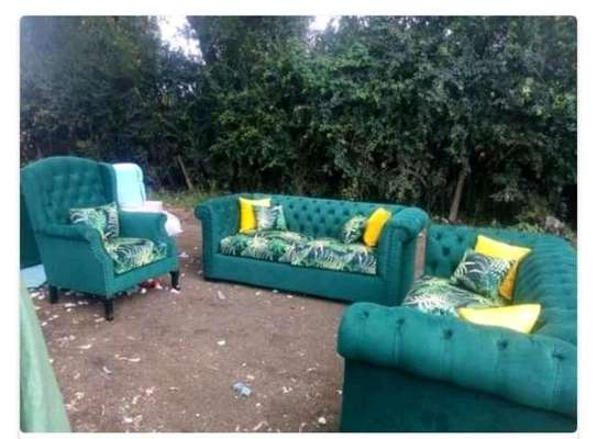 Green flowered Chesterfield image 1