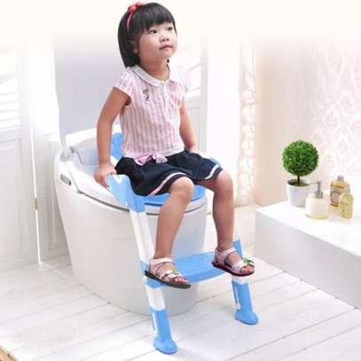 Kids Potty Toilet Training Seat With Adjustable Ladder -Blue image 1