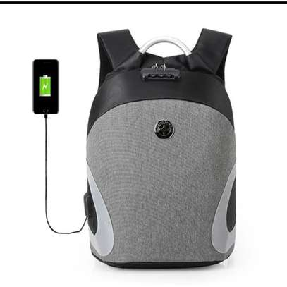 Antitheft Bags With USB Charging Port With Reflector - Grey
