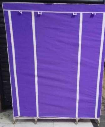 purple portable wooden wardrobe organiser image 1