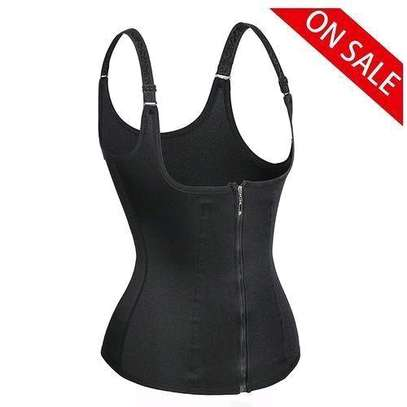 Generic Women's Underbust Corset Waist Trainer Cincher Steel Boned Body Shaper Vest With Adjustable Straps Black image 2