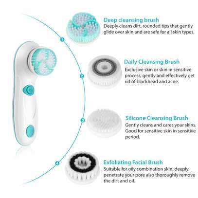 Rechargeable Facial Cleansing Spin Brush Set with 4 Exfoliation Brush Heads - Waterproof Face Spa System by CNAIER - Advanced Microdermabrasion for Deep Scrubbing and Gentle Exfoliating image 3