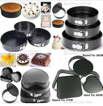 3different shapes &Round shape 3different sizes non-stick baking tins