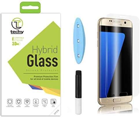 UV Light adhesive tempered glass screen protector for Galaxy S7 Edge + LED Kit image 4