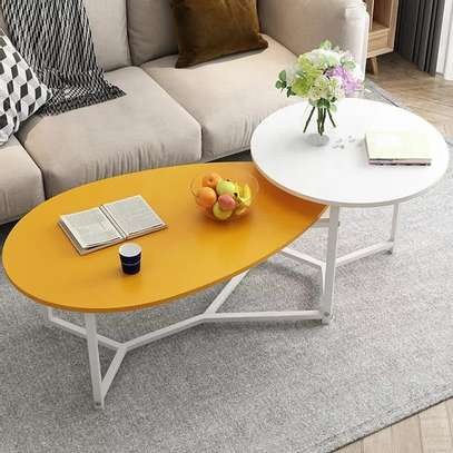 Yellow And White Twin Coffee Table image 1