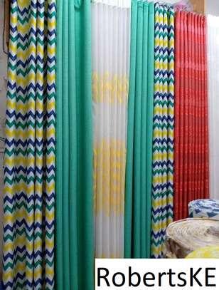 printed green  curtain image 1