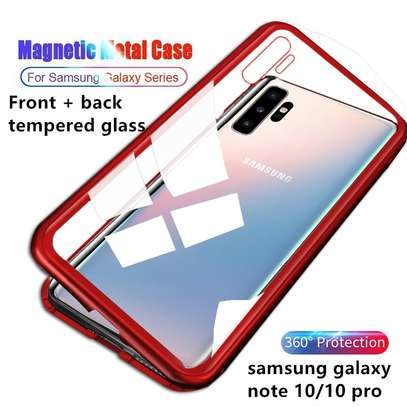 Magnetic Luxury Cases For Samsung Note 10 Note 10 Pro With Tempered Back Glass image 3