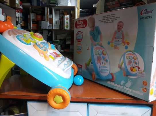 Baby walker with music,playing toys, balls, shaker,cake image 2