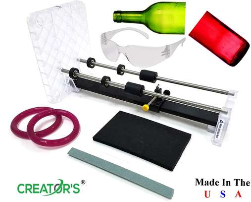 Creator's Glass Bottle Cutter Machine Kit - Made In The USA Pro Quality - Because Not Everyone Can Afford Cheap - Includes Carbide Head, Ruler, Ball Bearing Rollers, Safety Glasses - Craft Beer/Liquor/Wine Bottles