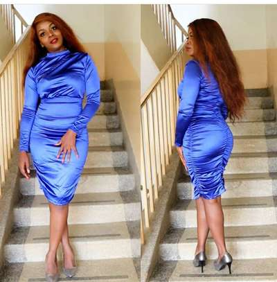 Ruched blue sexy dress image 1