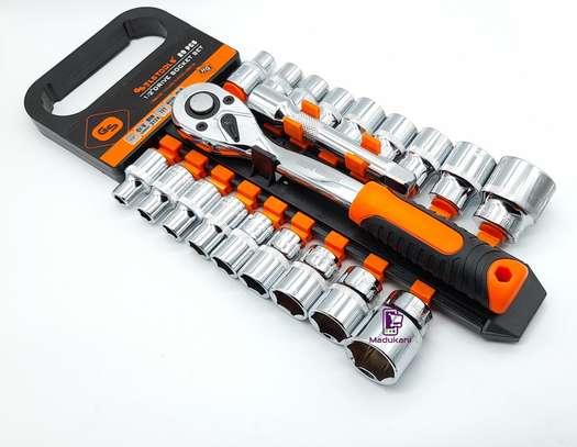 1/2 Inch 20PCS Ratchet Wrench Box Spanner Socket Set image 3