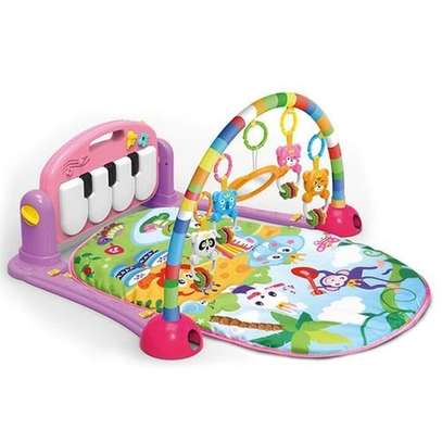 Folding soft musical baby playmat with light- pink