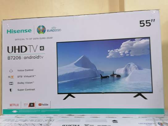 Hisense 55 inch smart android 4k framed tv image 1