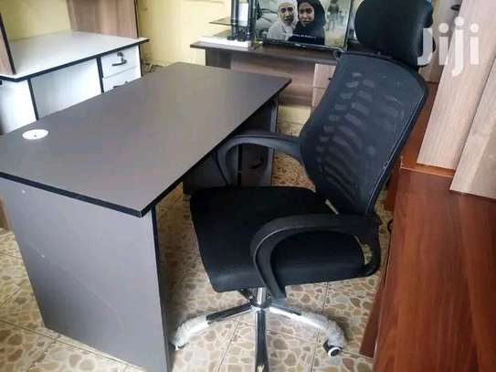 Computer desk with an adjustable high back desk chair black image 1