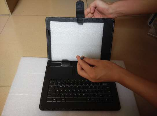 Universal Folding Leather Folio Case Cover Stand & Micro USB Keyboard for image 4