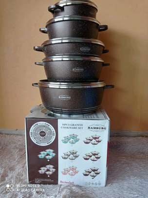 *10 pcs humburg  granite cookware set image 1