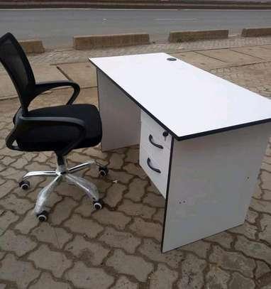 Laptop base office desk plus a mobile swivel chair black in color image 1