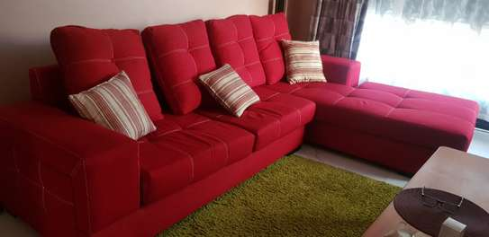 L-Shaped Red Sofa Set