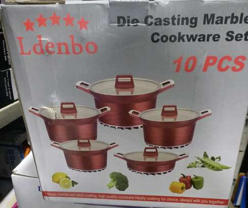 Ldenbo 10 pieces die casting marble nonstick cookware image 3