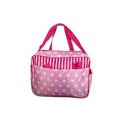 Baby Kingdom 5 Pcs Multi functional Diaper Bag - Pink & White . image 2