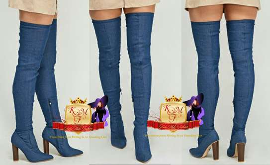 Light Denim Thigh High Boots Made in U.K image 1