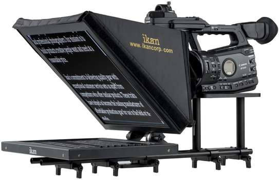 Ikan 15-inch Rod Based Location/Studio Teleprompter, Adjustable Glass Frame, Easy to Assemble, Extreme Clarity (PT3500) - Black image 1