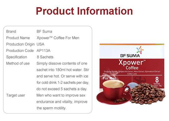 Xpower Coffee For Men; 8 Sachets/ Box, By BF Suma image 2